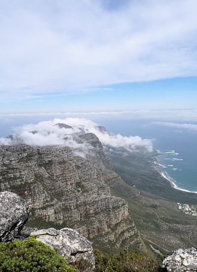 view from the Table Mountain to the Cape peninsula