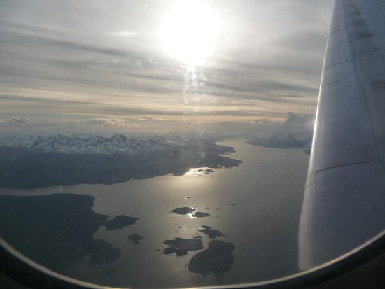 view from the airplane to the Magellan Strait
