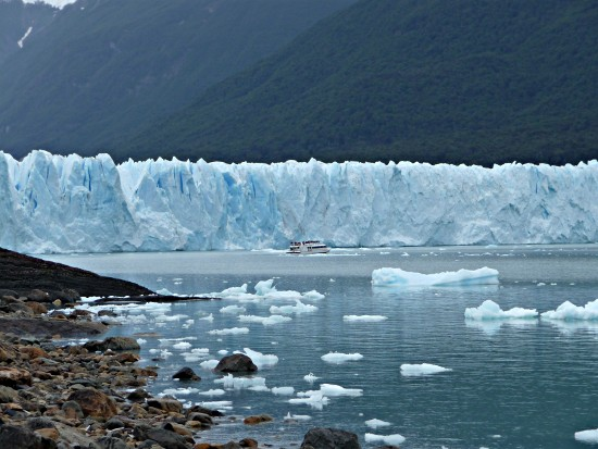 nothern wall of the Perito Moreno Glacier with vessel