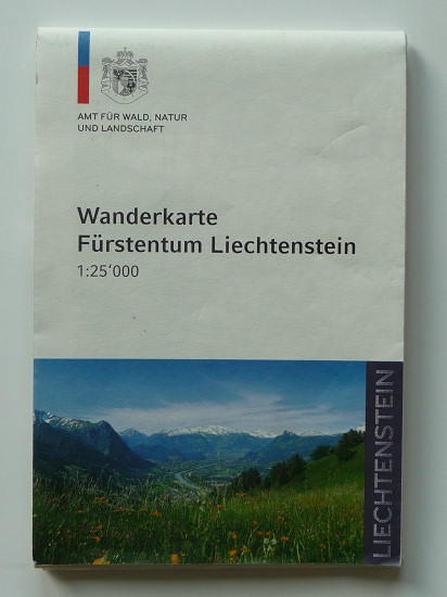 Hiking map of the Principality of Liechtenstein