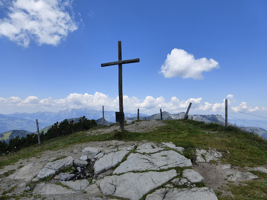 Summit cross at the Schönberg with box with summit book