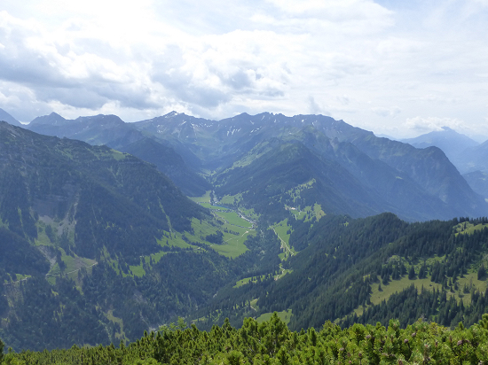 View from Helwangspitz into Samina valley and Valüna valley
